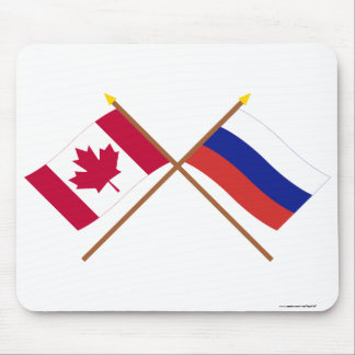 Canada and Russia Crossed Flags Mouse Pad