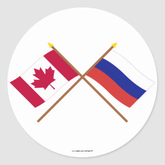 Canada and Russia Crossed Flags Classic Round Sticker