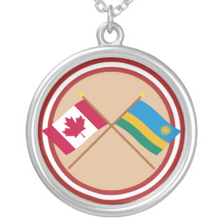 Canada and Rwanda Crossed Flags Round Pendant Necklace