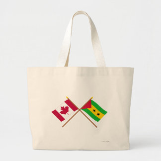Canada and Sao Tome & Principe Crossed Flags Tote Bag