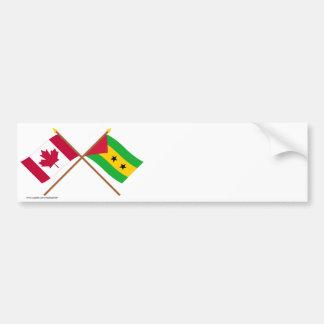 Canada and Sao Tome & Principe Crossed Flags Bumper Sticker