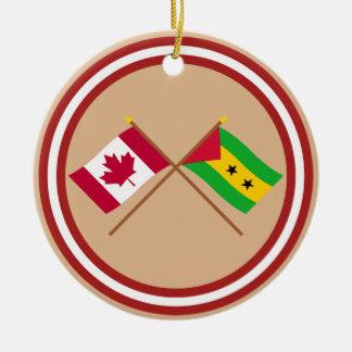 Canada and Sao Tome & Principe Crossed Flags Christmas Tree Ornament