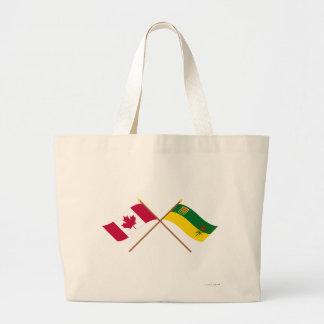 Canada and Saskatchewan Crossed Flags Tote Bags