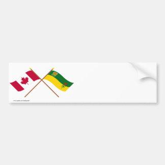 Canada and Saskatchewan Crossed Flags Bumper Sticker