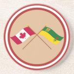 Canada and Saskatchewan Crossed Flags Beverage Coasters
