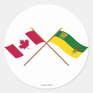 Canada and Saskatchewan Crossed Flags Classic Round Sticker