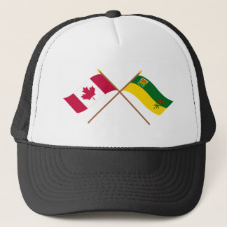 Canada and Saskatchewan Crossed Flags Trucker Hat