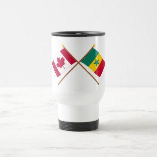 Canada and Senegal Crossed Flags Coffee Mugs