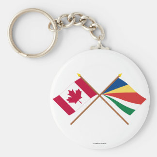 Canada and Seychelles Crossed Flags Keychain