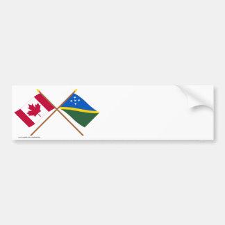 Canada and Solomon Islands Crossed Flags Bumper Sticker