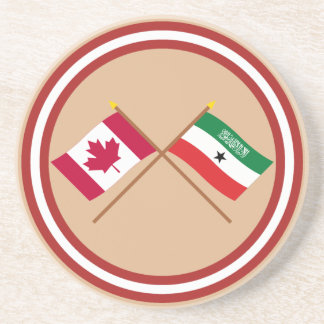 Canada and Somaliland Crossed Flags Drink Coaster