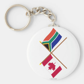 Canada and South Africa Crossed Flags Basic Round Button Keychain
