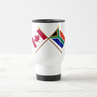 Canada and South Africa Crossed Flags 15 Oz Stainless Steel Travel Mug