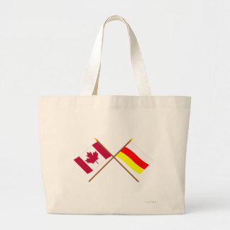 Canada and South Ossetia Crossed Flags Jumbo Tote Bag