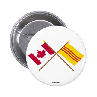 Canada and South Vietnam Crossed Flags Pinback Buttons