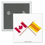 Canada and South Vietnam Crossed Flags 2 Inch Square Button