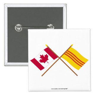 Canada and South Vietnam Crossed Flags Button