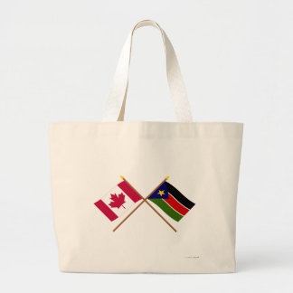 Canada and Southern Sudan Crossed Flags Jumbo Tote Bag