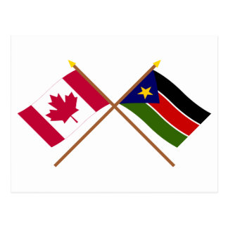Canada and Southern Sudan Crossed Flags Postcard