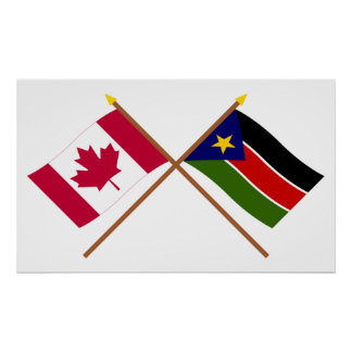 Canada and Southern Sudan Crossed Flags Poster
