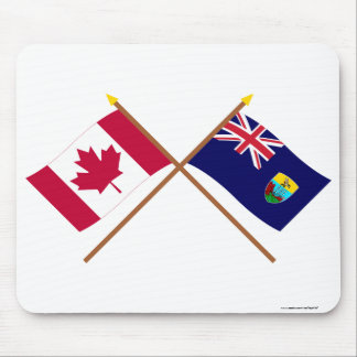 Canada and St Helena Crossed Flags Mouse Pad