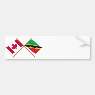 Canada and St Kitts & Nevis Crossed Flags Car Bumper Sticker