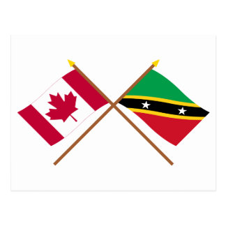 Canada and St Kitts & Nevis Crossed Flags Postcard