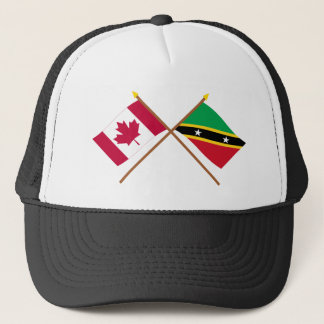 Canada and St Kitts & Nevis Crossed Flags Trucker Hat