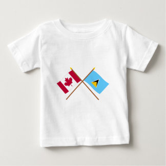 Canada and St Lucia Crossed Flags Baby T-Shirt