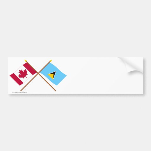 Canada and St Lucia Crossed Flags Bumper Sticker