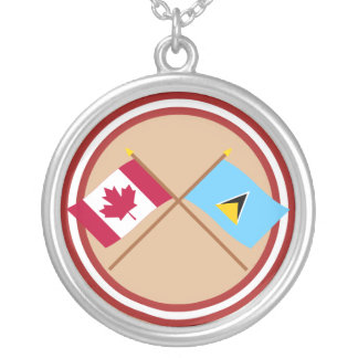 Canada and St Lucia Crossed Flags Silver Plated Necklace