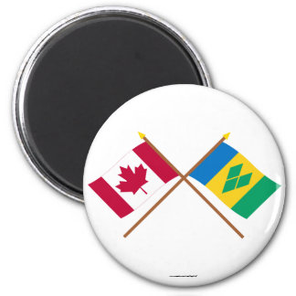 Canada and St Vincent Crossed Flags 2 Inch Round Magnet