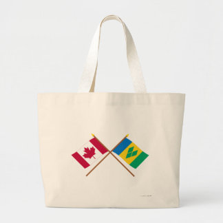 Canada and St Vincent Crossed Flags Jumbo Tote Bag