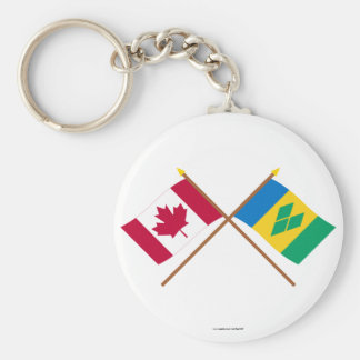 Canada and St Vincent Crossed Flags Keychain