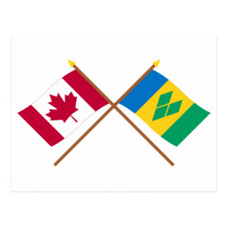Canada and St Vincent Crossed Flags Postcard