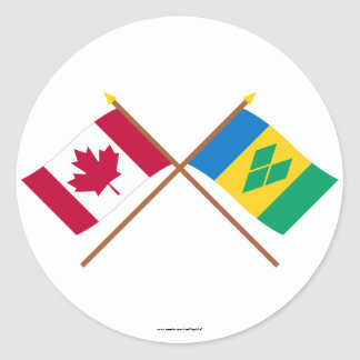 Canada and St Vincent Crossed Flags Round Stickers