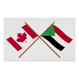 Canada and Sudan Crossed Flags Poster
