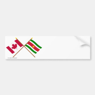 Canada and Suriname Crossed Flags Bumper Sticker
