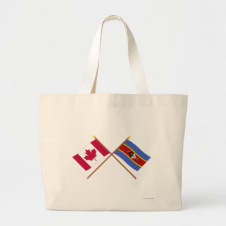 Canada and Swaziland Crossed Flags Jumbo Tote Bag