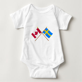 Canada and Sweden Crossed Flags Baby Bodysuit