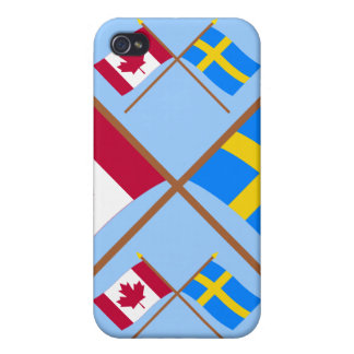 Canada and Sweden Crossed Flags Covers For iPhone 4