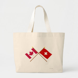Canada and Switzerland Crossed Flags Jumbo Tote Bag