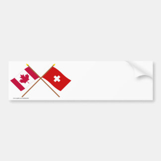 Canada and Switzerland Crossed Flags Car Bumper Sticker