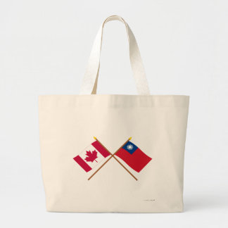Canada and Taiwan Crossed Flags Jumbo Tote Bag
