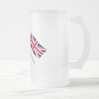 Canada and the United Kingdom Crossed Flags Frosted Glass Beer Mug
