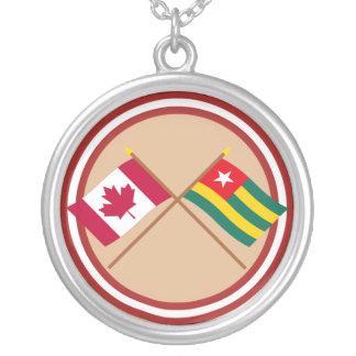 Canada and Togo Crossed Flags Personalized Necklace