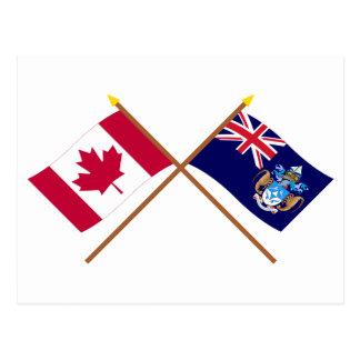 Canada and Tristan da Cunha Crossed Flags Postcard