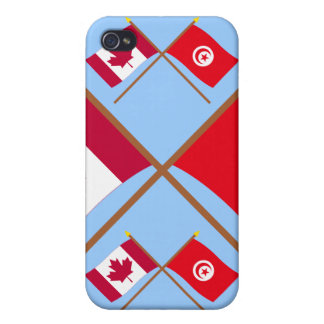 Canada and Tunisia Crossed Flags iPhone 4 Case