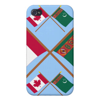Canada and Turkmenistan Crossed Flags iPhone 4 Cover