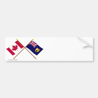 Canada and Turks & Caicos Crossed Flags Bumper Sticker